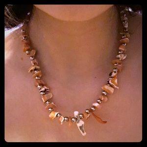 Orange Hawaiian style rock necklace